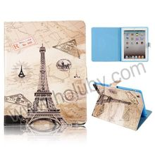 Famous Design Flip Magnetic Folio Stand Eiffel Tower Leather Case for iPad 2/3/4