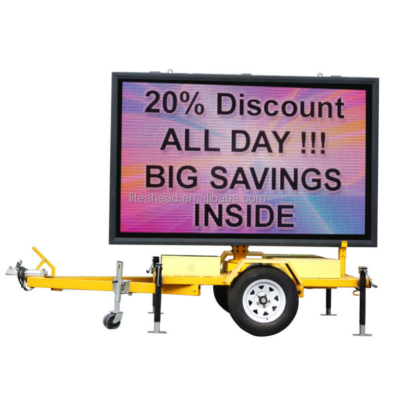 Portable P8 LED Sign Screen Trailer for Outdoor Advertising, Activities, Events