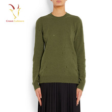 Green 100% Cashmere Model Wool Sweater Knitted with Holes