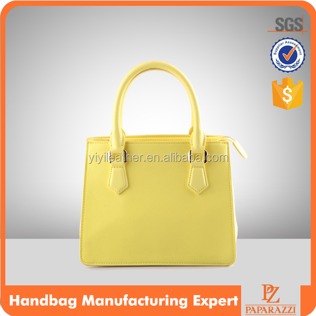 3846 Trendy Lemon Yellow Color and Mini Size PU Saffiano Texture Three Components Ladies Tote Bag