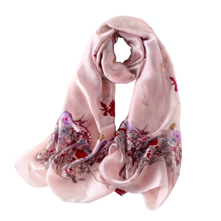Fashion <strong>Elegant</strong> Women Flower Design Printed 100% Silk Scarf