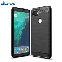 Business Style TPU Soft Carton Fibre Brushed Metal Texture Phone Back Cover For Google Pixel XL 2 Case