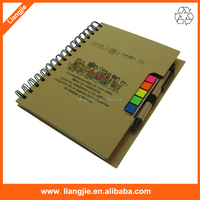 Spiral recycled notebook with pen & sticky note index attached for office stationery