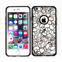 NEW Fashion Painted Luminous Flower Pattern Hard+Soft Back Skin Case Cover For Apple IPhone 4 4S 5 5S