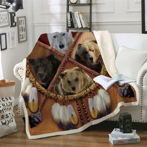 Wolf Dreamcatcher Premium Blanket Native American Plush Throw Blanket D Animal Tribal Lion Tiger Leopard Bears Blanket