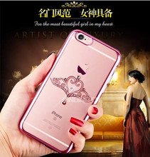 Glitter diamond ultra thin electroplate tpu colored drawing pattern rhinestone case for iphone 6s rose gold