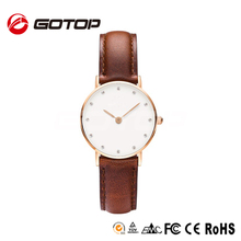 Alibaba Express Luxury Gold Stainless Steel Case Genuine Leather Watch Strap Best Swiss Watches Brands