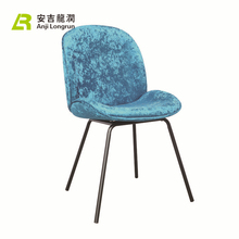 High Quality bright blue European Style iron leg Velvet Tufted Dining Chair
