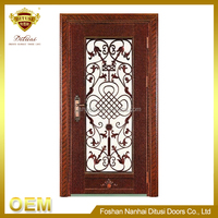 New design hot sale top quality wood entry door with wrought iron HL-J59