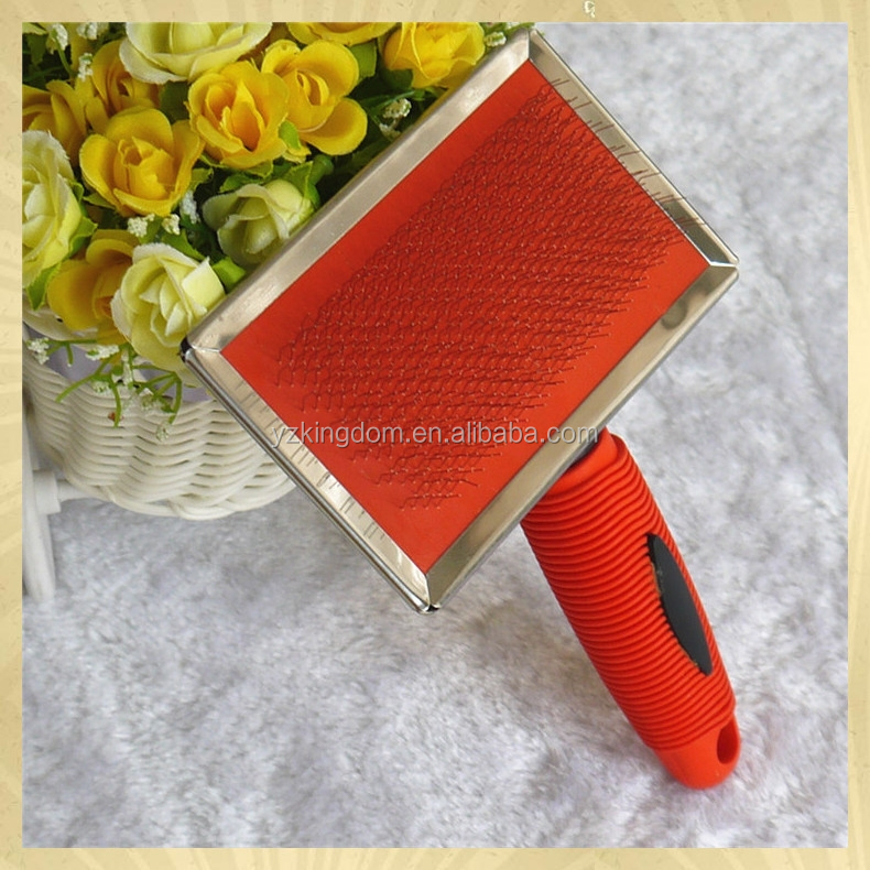 China factory red rubber pad pet brush for dog grooming
