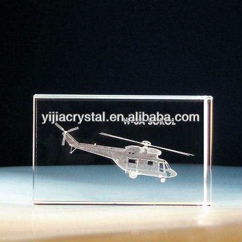 3D Crystal Laser Plane Block For Promotional Souvenirs