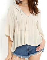 4T6425 low moq europe style apparel summer blouse supplier