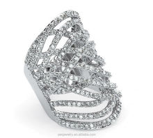Cross Cubic Zirconia Elongated Hollow Index Finger Ring (PES6-343)