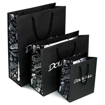 China factory directly supply custom logo black color printed paper shopping paper gift  bags