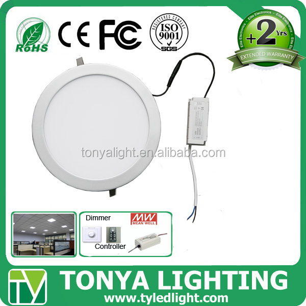 dimmable 7w led round panel light with emergency battery