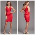 red short design knee length satin backless evening dress