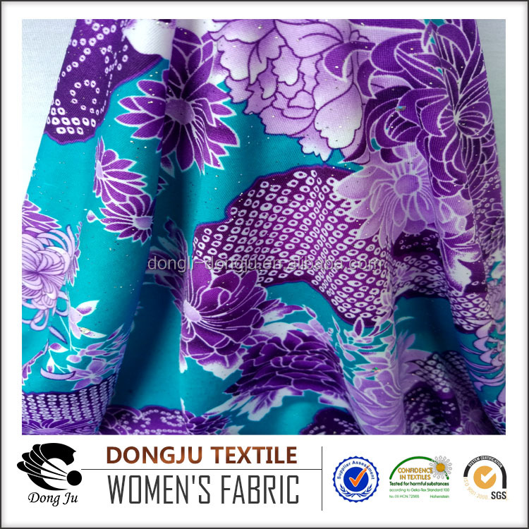 Dongju Textile Polyester DTY Stretch Printing metallic Fashion Jersey Knit Fabric textile one