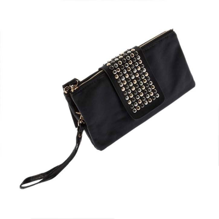 New Small Bag Womens Korean Style Black PU Leather Rivet Clutch Wallet Purse Hand Bag