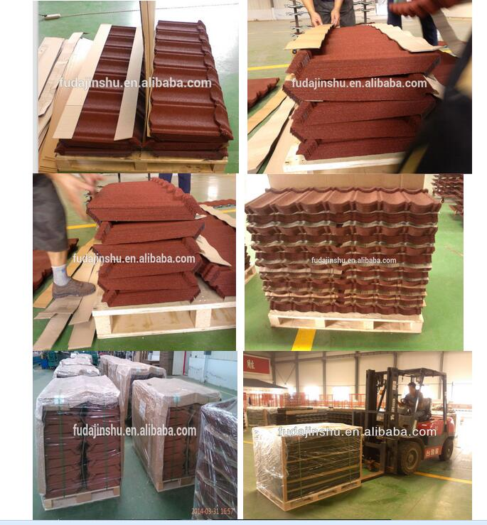 HOT sale Light weight stone chips coated metal roof tile