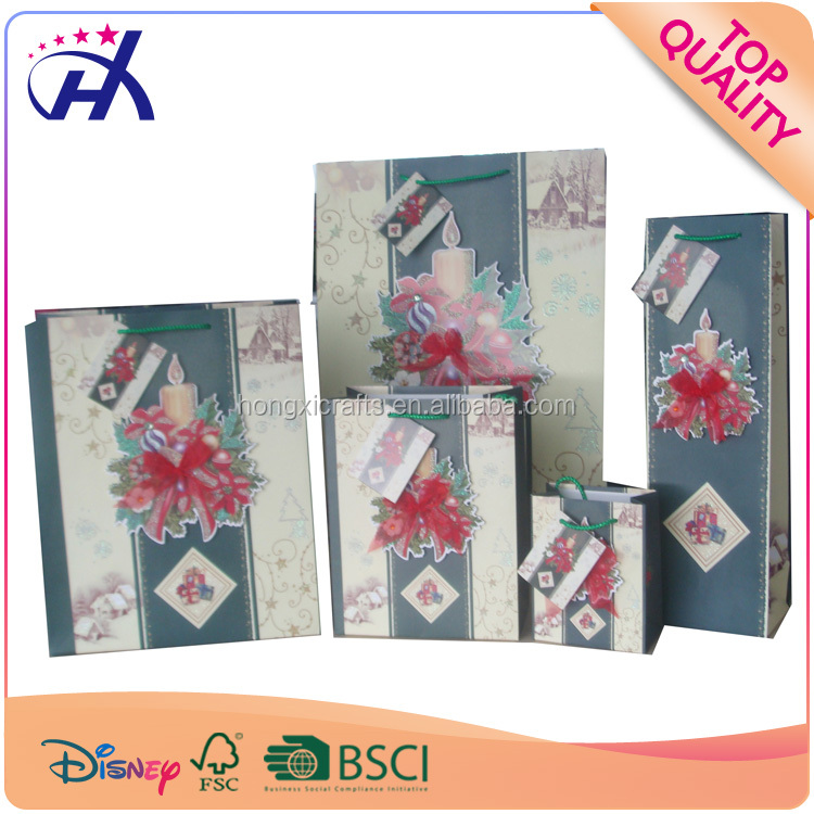 Christmas Promotion Usage Paper Printed Gift Bag Custom High Quality Shoppig Bag
