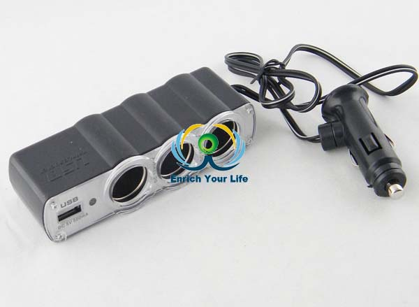 New PL12V3US Plug In Car 1 TO 3 Cigarette Lighter Multiplier With USB Charger
