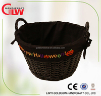 Wicker halloween basket with liner,holiday basket