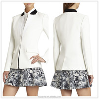 Fashion ladies white contrast collar tuxedo fancy blazer with flap pockets at front
