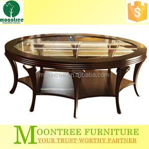Moontree MDT-1172 wooden leg round glass dining table 6 chairs set