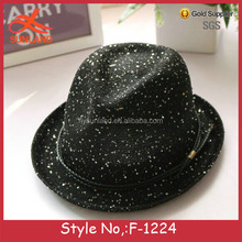 F-1224 new sequins weaving led led fedora hat for woman summer straw hat