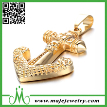 Stainless steel gold plating anchor pendant fashion sailer anchor pendant gold