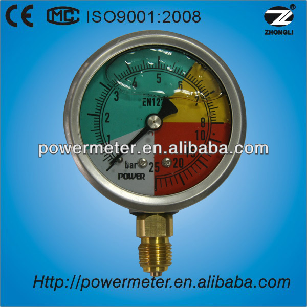 63mm liquid filled 0-25bar wika isometric gauge