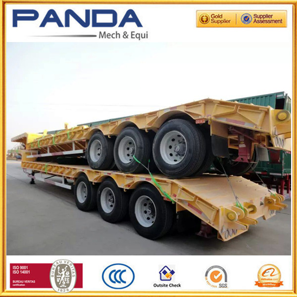 Heavy duty low flatbed trailers, 50T seaport lowbed trailer for sale