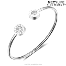 MECYLIFE Stainless Steel Adjustable Roman Numeral Bracelet Silver Diamonds Bangle