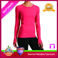 High Quality New Design Long Sleeve Running Suit for Gym Fitness Women's Wholesale T Shirt 2016