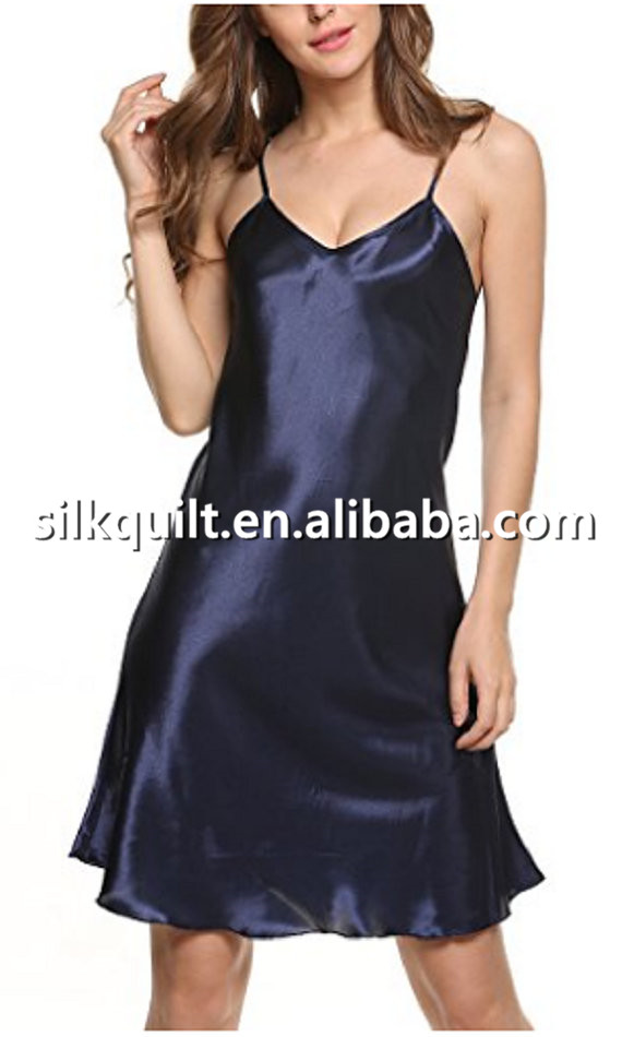 Sexy Lingerie Women's Sleepwear Satin Nightgown Silk Chemise