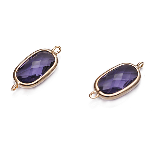 19.5*9mm Fashion Long Square Classic Gold South Korean Style Copper Bezel Connector Purple Gemstone Jewelry Accessories