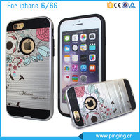 Hard Flower Printing Brushed PC TPU Back Case For Iphone 6 4.7 inch, For i phone6 Cases And Covers