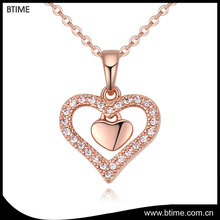 Top selling heart shaped pendant necklace zircon jewelry for Wedding