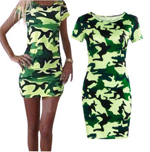 2018 Summer Women Sexy Casual Dress Newest Fashionable Camouflage Print Trim Dress Hot Selling Ladies Military Dress
