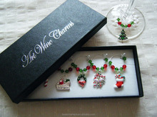 Coloured enamel Christmas themed wine glass charms