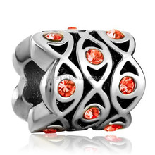 New metal charms Silver beads Light Red Bling Element Crystal Flowers Fit All Brands Silver Charms Bracelets