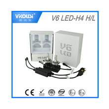 2016 New 5000lm Vikousi Auto parts v6 generation four chips shining hi low car h4 led headlight bulbs