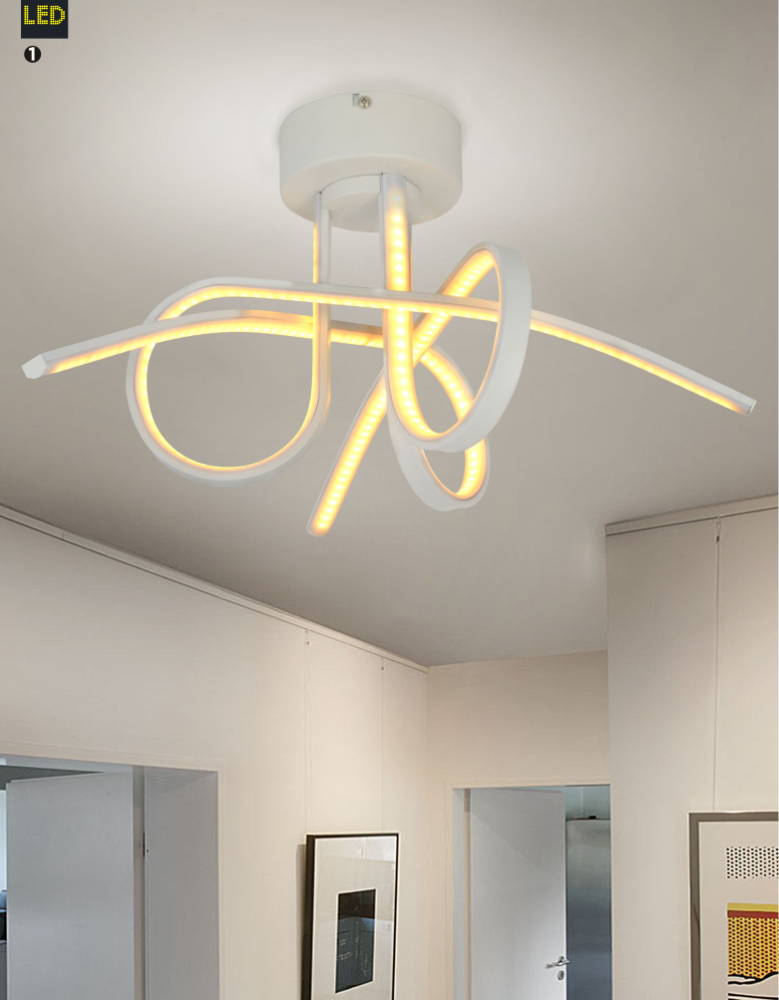Modern overlapping design art deco light fixtures fancy suspended ceiling strip lights