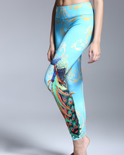 Oriental culture peacock pattern customized brand name ladies women leggings fitness