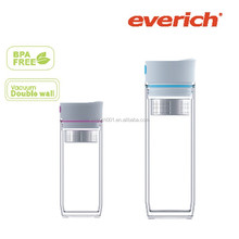 350ml double wall AS water and tea tumbler with S/S filter inside