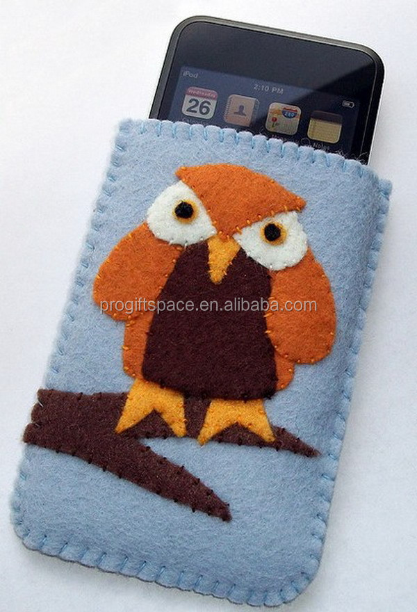 6 inches free sample new products 2017 smart fancy fashion felt fabric china cell mobile phone cover accessories case with owl
