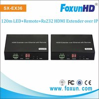 IR remote control HDMI over IP Extender with Remote and PC software to select Sources, with loop HDMI out, RS232 pass