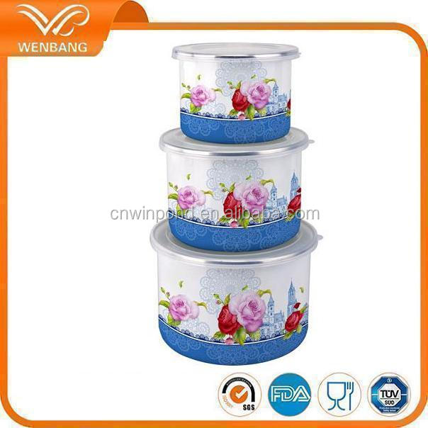 hot selling wholesale mixing enamel deep storage bowl with pp lid