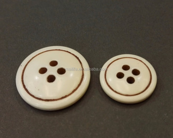 Bone button with painting rim and convexity at front