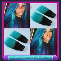 top quality ombre tone color human hair extensions double weft 2pcs/lot #1b/cyan human hair weaving